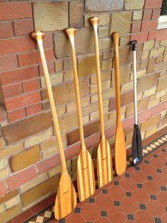 "My paddles, L to R: Wenonah 54""/1.37m Boundary Waters (2 of), Wenonah Cormorant 54""/1.37m & 56""/1.42m, beavertail 52""/1.32m (2 of), 48""/1.22m BLA 'T' grip (aluminium)."