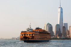 The Staten Island Ferry makes the 5.2-mile crossing between Manhattan and Staten Island in about 25 minutes. (Photo: Julienne Schaer for NYCgo)  #Staten Island Ferry#NYC#NYCgo#New York City#New York Harbor#ferry#ships#boats