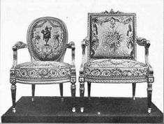FRENCH FAUTEUILS, CARVED AND GILT FRAMES WITH AUBUSSON TAPESTRY.