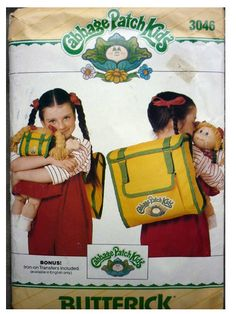 Vintage Sewing Pattern Butterick 3046 Cabbage Patch Backpack Complete Uncut by GoofingOffSewing on Etsy