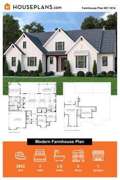 Take a look at this sweet farmhouse barndominium plan. Call 1-800-913-2350 today. #blog #architecture #modern #bungalow #architect #architecture #buildingdesign #country #craftsman #houseplan #homeplan #house #home #homeblog Modern Farmhouse Plans, Farmhouse Design, Farmhouse Style, Farmhouse Decor, Barndominium Plans, Modern Bungalow, Southern Style, Building Design, Second Floor