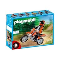 Playmobil Enduro Motorcycle with Rider by Playmobil. $12.89. Recommended Age: 4 - 10 years. CHOKING HAZARD - Small parts. Not for children under 3 yrs.. Live on the adventurous side with this orange Enduro Motorcycle, perfect for trailblazing and offroad riding. Kids will love the flashy orange design of this motorcycle, the third in a series of six collectible sets.