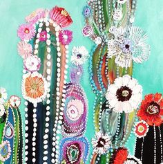 want to try this as fabric art using dots & trims & laces – From Parts Unknown Art Lessons, Art Painting, Art Drawings, Flower Art, Cactus Art, Fabric Art, Art, Diy Art, Beautiful Art