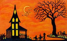 """Halloween Art Print Titled """" Best Night of the Year"""" by Christine Altmann  $12.99"""