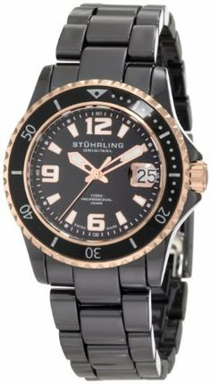 Stuhrling Original Men's 273.33OB41 Leisure Ceramic Chevalier Swiss Quartz Professional Divers Date Two-Tone Ceramic Watch Stuhrling Original. $183.99. Water-resistant to 100 m (330 feet). Black matte finish dial with white applied arabic numerals and baton style markers. 22mm black ceramic bracelet with fold over clasp. Black ceramic round shaped case with undirectional ratcheting bezel. Sapphire crystal with date magnification at three o'clock position. Save 79%!