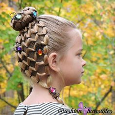 """1,220 Likes, 99 Comments - Cynthia Cadina Hatch (@ashton_hairstyles) on Instagram: """"#2016baelastics Halloween spider bun! Ashton is so excited to wear this hairstyle to school today.…"""""""