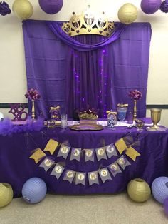 Royal Queen purple and gold birthday party! See more party ideas at CatchMyParty.com!