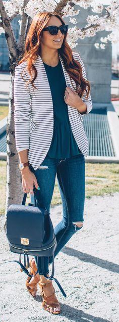 Sophie & Trey Striped Blazer by Little J Style by LITTLE J STYLE