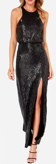 Line and Dot Monroe Black Sequin Maxi Dress