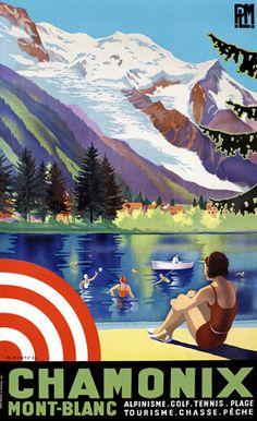 Chamonix Mont-Blanc, France http://www.vintagevenus.com.au/products/vintage_poster_print-tv877 More