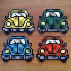 VW VolksWagen Retro Car Hama Beads, Perler Beads by Pysselräven Hama Beads Design, Diy Perler Beads, Perler Bead Art, Pearler Beads, Fuse Beads, Hama Mini, Pearler Bead Patterns, Perler Patterns, Mosaico Lego