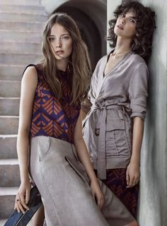 Models wears boho prints pose for Kocca spring summer 2016 campaign