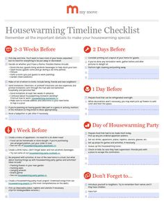 Housewarming Party Timeline Checklist | I'd like to start hosting these for my buyers when they get into their new place.