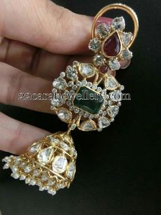 Jewellery Designs: Jhumkas in Diamonds and Gold