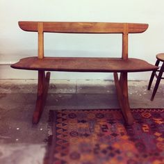 Samuel Moyer just delivered this incredible mahogany rocker bench to Platform!  It's so GORGEOUS!!❤  (at Platform)