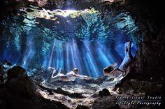 Magic underwate lights - Mexico #underwaterTrashTheDress  #underwater  #underwatersession #underwaterphotography #Cenotes #TrashTheDress #Rivieramaya #cancun #playadelcarmen  #caribbean #destinationwedding
