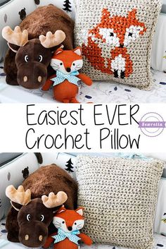 Make the easiest crochet pillow ever and embellish it with cross stitch! Get the free pattern by Sewrella and make it with Vanna's Choice!