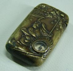ANTIQUES BRASS JAPANESS VESTA CASE WITH CAMPASS