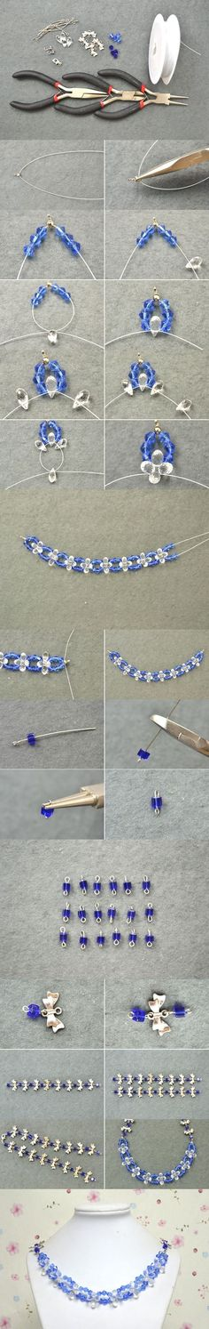 Tutorial on How to Make Sapphire Crystal Lotus Necklaces at Home from LC.Pandahall.com #pandahall | Jewelry Making Tutorials & Tips 2 | Pinterest by Jersica