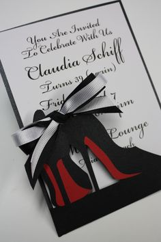 High Heel Fashionista laser cut invitation  www.katblustudio.etsy.com