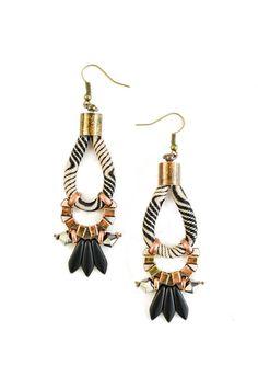 Black and Beige Tribal Earrings, Old Gold and Copper Earrings, Psychedelic Pattern Rope Earrings, Black Dagger Beads, Chandeliers
