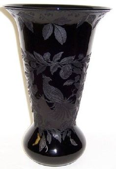 Items similar to Cambridge Ebony Black 12 Inch High Pattern Number 402 Two Sided Pattern BIRD Vase on Etsy Black Glass, Urn, Glass Art, Cambridge, Pattern, Pictures, Etsy, Beautiful, Bottles