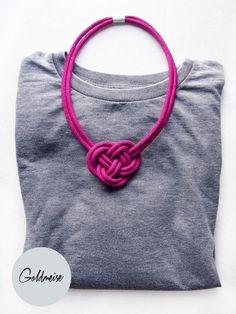 Statement-Kette Knoten, magenta // pink statement necklace knot via DaWanda.com