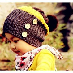 Rabbit Hair Ball Earflaps Baby's Knitting wool Caps
