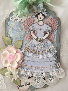 Art Tag, Paper Decor, Paper Doll, Hand Made, Collage, Spring,Fairy, Pastels, Pink, Flowers, Regency, Feminine, Mixed Media