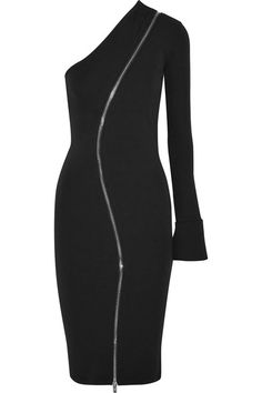 GIVENCHY One-shoulder zip-detailed stretch-jersey dress. #givenchy #cloth #dresses