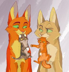Firestar and Sandstorm with their kits Squirrelkit and Leafkit♥I love how Squirrelkit is acting! Ha ha ha ha!!!