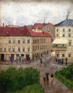 Edvard Munch 1883 Street Corner on Karl Johan, Grand Cafe oil on canvas 36 x 28 cm Munch Museum, Oslo