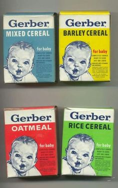 Vintage Gerber Baby Cereal Boxes - I remember mixing this stuff up and feeding my baby brothers back in the My Childhood Memories, Great Memories, Baby Memories, Childhood Toys, Vintage Advertisements, Vintage Ads, Vintage Baby Toys, Retro Ads, Vintage Stuff