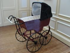 Dollhouse-Miniature-Maroon-Metal-Black-Leather-Baby-Pram-Signed-CYR-England