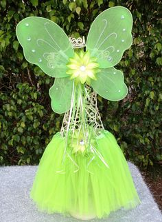 Tinkerbell Green Wings and Tutu Fairy Party Dress by partiesandfun