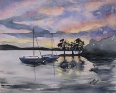 Original+Watercolor+Painting+of+Seascape+at+by+DyansWatercolors,+$42.00