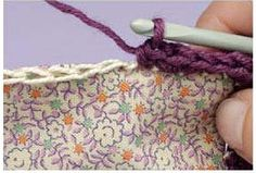 Shows how to sew on a foundation stitch for crochet edge