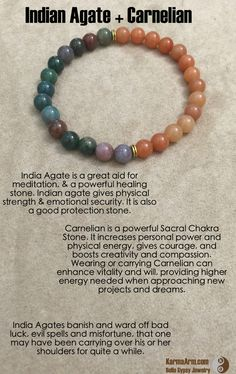 Carnelian is a powerful Sacral Chakra Stone. It increases personal power and physical energy, gives courage, and boosts creativity and compassion. Wearing or carrying Carnelian can enhance vitality and will, providing higher energy needed when approaching new projects and dreams.  PERSONAL POWER: Indian Agate + Carnelian Yoga Mala Bead Bracelet
