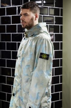 Buy Stone Island Jacket Camo Devore Watro TC In Green And Blue Online Now At Aphrodite With Express Delivery And Secure Payment Availa Pilot Leather Jacket, Stone Island Clothing, Stone Island Jacket, Men S Shoes, Camo Print, Parka, Streetwear, Blue Green, Trainers