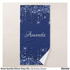 Name Sparkly Glitter Drips Glam Blue Navy Bath Towel Glitter Home Decor, Artwork Design, Bath Towels, Print Design, Create Your Own, Vibrant, Navy, Prints, Blue