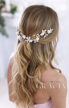 Bridal Hair Jewelry Crystal headband Bridal hair flowers Wedding Headband Wedding Headpiece Rhinestone headpiece Crystal Hair Accessories The length of the hair piece in the photo is 9.8 (25cm) Made with silk flowers, metal leaves, pearl beads and crystals. This is a very flexible