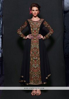 Hypnotizing Black Party Wear Anarkali Salwar Suit