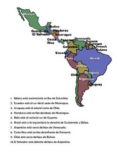 Students learn countries AND prepositions of location by completing the activity. They circle the correct preposition of location based on the two countries named. Language And Literature, Spanish Language Learning, Project Based Learning, Student Learning, Spanish Speaking Countries, Country Names, Spanish Classroom, Prepositions, How To Speak Spanish