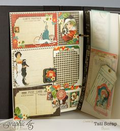 Amazing pocket scrapbooking pages in Tati Scrap's mixed media album using Time to Flourish and Raining Cats & Dogs #Graphic45