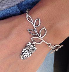 Silver Leaf branch With OWL Charm braceletleaf by pier7craft