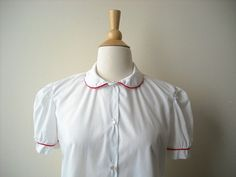 Vintage White Schoolgirl Blouse by Baxtervintage on Etsy, $32.00