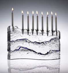 """S Menorah Clear with Blue Lines"" created by Joel and Candace Bless"