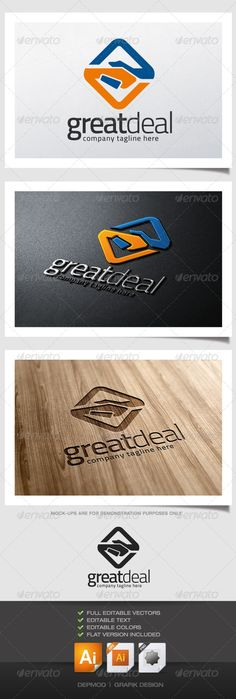 Great Deal Logo  #GraphicRiver         Logo of a minimal stylized handshake (deal). Can be used for many kind of project. Full vectors, this logo can be easily resize and colors can be changed to fit your colors project.