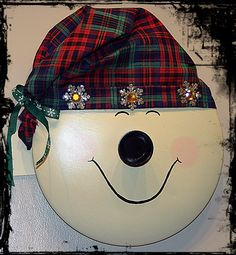 Love this snowman, made from a pot lid with a no-sew hat, added some embellishments