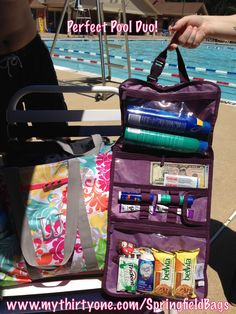 I call this the Perfect Pool Duo! The Super Organizing Utility Tote was used to carry towels, cameras, and a thermal tote for 4 adults and 2 children.  partnered with the Timeless Beauty bag to hold beach/pool items (sunscreen, snacks, money, pool passes, and first aid!